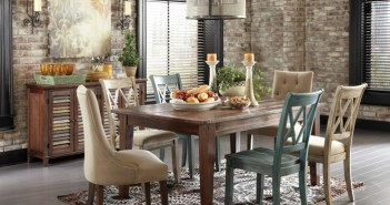 Traditional-Cottage-Dining-Room-Ideas-with-Elegant-Rectangle-Wooden-Dining-Table-Ideas-complete-with-Vintage-Dining-Chairs-above
