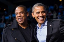 U.S. President Barack Obama  stands on stage with rapper Jay-Z and musician Bruce Springsteen  at an election campaign rally in Columbus, Ohio