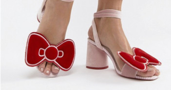 ASOS _ Hello Kitty x ASOS DESIGN velvet bow heeled sandal